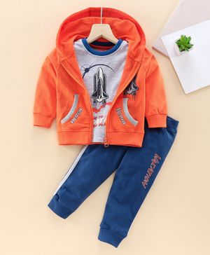 Babyhug Half Sleeves Tee & Sweat Jacket & Track Pant Rocket Print - Orange Grey Navy Blue
