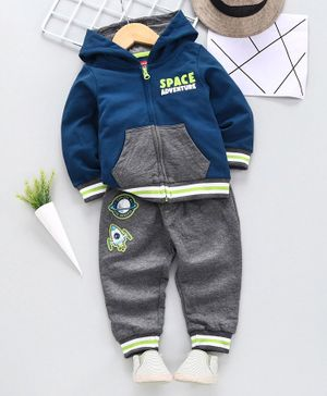 Babyhug Winter Wear Full Sleeve Sweat Jacket with Lounge Pant Space Print - Navy Blue Grey