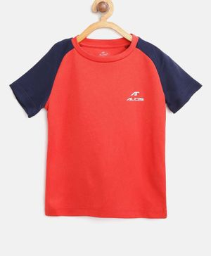 Alcis Color Block Half Sleeves Tee - Red