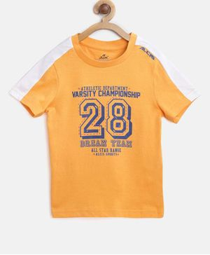 Alcis Half Sleeves Number 28 Printed Tee - Orange