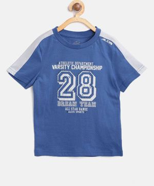 Alcis Half Sleeves Number 28 Printed Tee - Blue