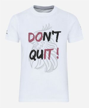 Alcis Half Sleeves Don't Quit Printed Tee - White
