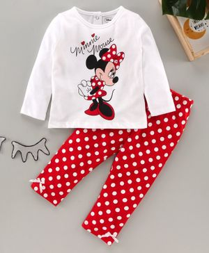 Babyhug Full Sleeves Cotton Nightsuit Minnie Mouse Print - Red