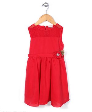 Little Coogie Dress With Diamond Flower  Applique - Red