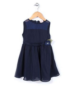 Little Coogie Dress With Diamond Flower  Applique - Navy