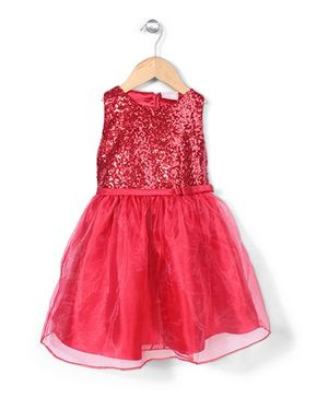 Little Coogie Sequin Party Dress - Red