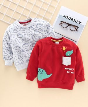 Babyhug Full Sleeves Sweatshirt Dinosaur Print Pack of 2 - Red Grey
