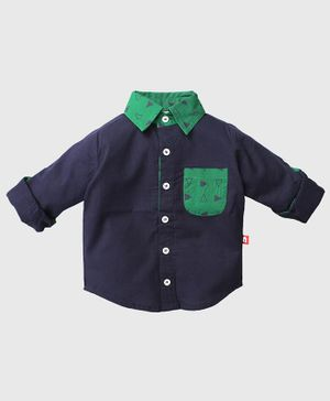 Nino Bambino Pocket Print Full Sleeves Shirt - Blue