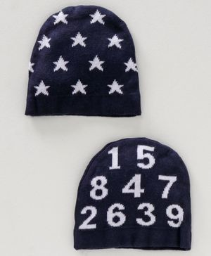Simply Baby Caps Multi Design Set of 2 - Navy Blue