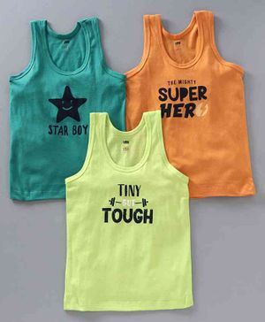 Simply Sleeveless Vests Text Print Pack of 3 - Teal Yellow Orange