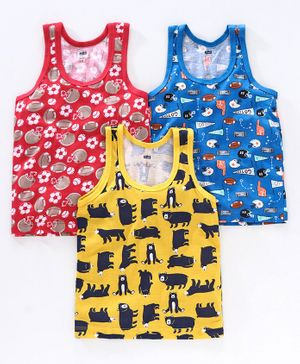 Simply Sleeveless Vests Pack of 3 - Red Blue Yellow