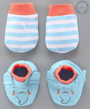 Babyoye Cotton Mittens & Booties Set - Blue