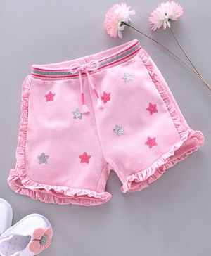 Babyhug Shorts with Drawstring Star Embellished - Pink