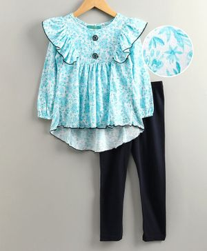Tiara Puffed Full Sleeves Flowers Printed Asymmetric Tunic With Leggings Set - Blue