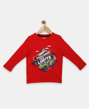 Hot Wheels by Toothless Challenge Your Limits Print Full Sleeves Tee - Red