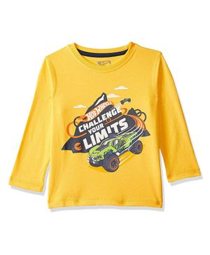 Hot Wheels by Toothless Challenge Your Limits Print Full Sleeves Tee - Yellow