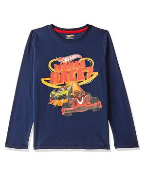 Hot Wheels by Toothless Wanna Race Print Full Sleeves Tee - Blue