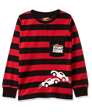 Hot Wheels by Toothless Striped & Car Print Full Sleeves Tee - Red & Black