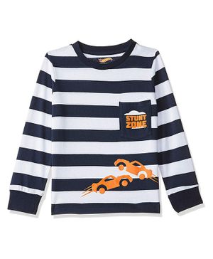 Hot Wheels by Toothless Striped & Car Print Full Sleeves Tee - White & Blue