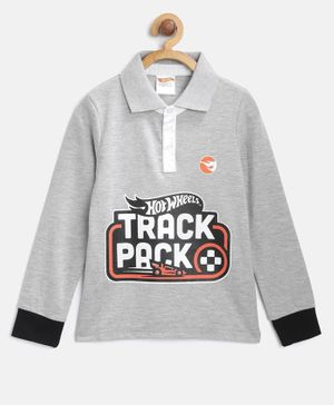 Hot Wheels by Toothless Track Pack Print Full Sleeves Tee - Grey