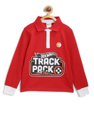 Hot Wheels by Toothless Track Pack Print Full Sleeves Tee - Red
