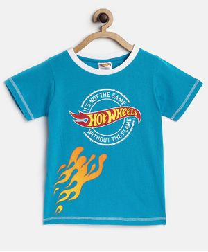 Hot Wheels by Toothless Printed Half Sleeves Tee - Blue