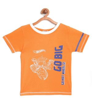 Hot Wheels by Toothless Go Big Print Half Sleeves Tee - Orange
