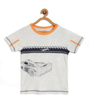 Hot Wheels by Toothless Racing Car Print Half Sleeves Tee - Grey