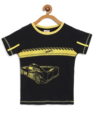 Hot Wheels by Toothless Racing Car Print Half Sleeves Tee - Black