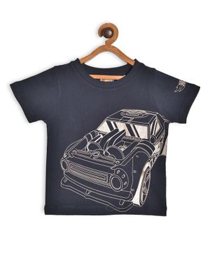 Hot Wheels by Toothless Car Print Half Sleeves Tee - Navy