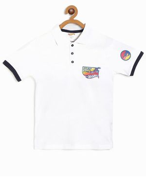 Hot Wheels by Toothless Half Sleeves Polo Printed Tee - White