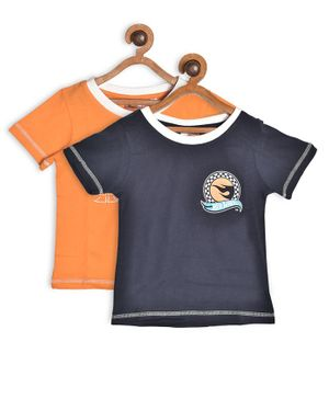 Hot Wheels by Toothless Half Sleeves Printed Pack Of 2 Tee - Orange & Blue