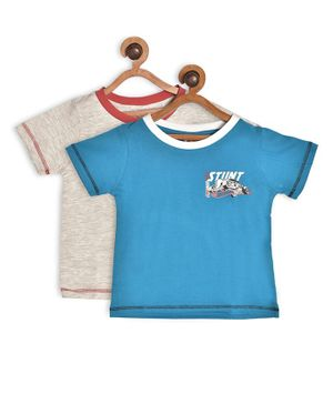 Hot Wheels by Toothless Half Sleeves Printed Pack Of 2 Tee - Grey & Blue