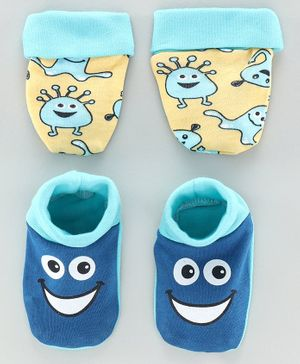 Babyoye Cotton Mittens & Booties Monster Print Pack of 2 - Yellow Blue