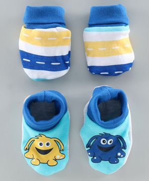 Babyoye Mittens and Booties Set - Blue