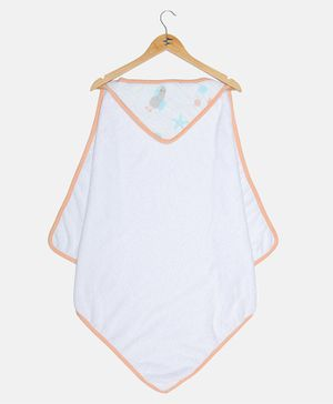 Ooka Baby Premium 100% Cotton Hooded Towel Seagull Print - White Peach