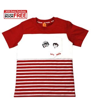Chhota Bheem By Green Gold Half Sleeves Striped T-Shirt With Free Book  - Red