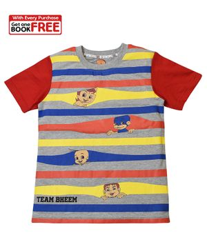 Chhota Bheem By Green Gold Half Sleeves Striped T-Shirt With Free Book - Grey