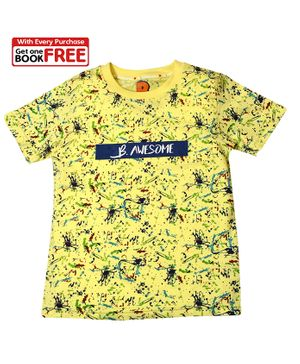 Chhota Bheem By Green Gold Half Sleeves Printed T-Shirt With Free Book - Light Yellow