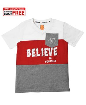 Chhota Bheem By Green Gold Half Sleeves Believe In Yourself Printed T-Shirt With Free Book - Blue