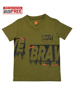 Chhota Bheem By Green Gold Half Sleeves Brave Printed T-Shirt With Free Book - Green