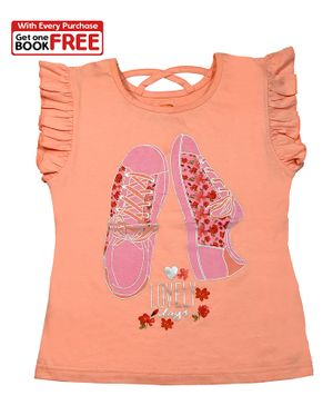 Chhota Bheem By Green Gold Cap Sleeves Shoes Printed Top With Free Book  - Light Orange