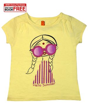 Chhota Bheem By Green Gold Cap Sleeves Hello Summer Printed T-Shirt With Free Book - Light Yellow