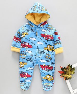 Child World Hooded Winter Wear Romper Vehicle Print - Blue