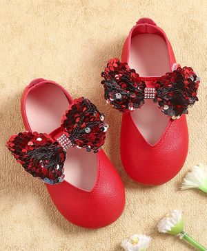 KIDLINGSS Sequined Bow Applique Bellies - Red