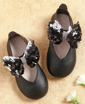 KIDLINGSS Sequined Bow Applique Bellies - Black