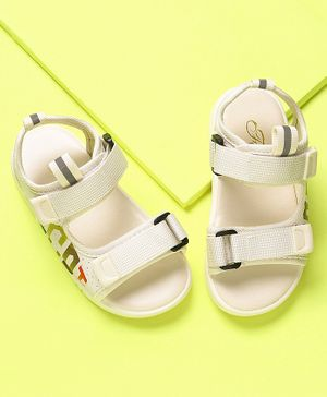 KIDLINGSS Gogoi Printed Velcro Closure Sandals - White