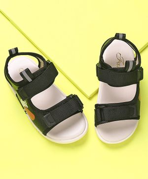 KIDLINGSS Man Printed Hollow Velcro Closure Sandals - Black