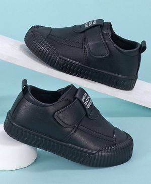 KIDLINGSS Letter Printed Velcro Closure Shoes - Black