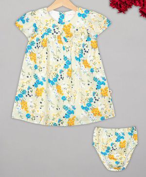 Budding Bees Short Sleeves Floral Print Dress With Bloomers - Blue & Off White